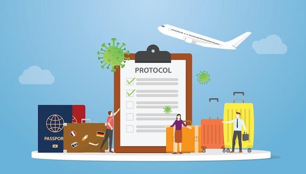 Nouvelle procédure normale de guide ou de protocole pour voyager ou voyager avec un appartement moderne