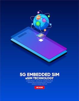 Nouvelle technologie de puce de carte esim de communication mobile concept de sim intégré 5g