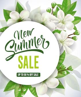 Nouvelle vente d'été jusqu'à cinquante pour cent sur les lettres de vente.