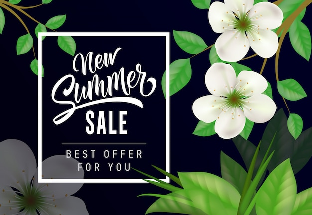Nouvelle vente d'été meilleure offre pour votre lettrage. inscription commerçante avec fleur de pommier