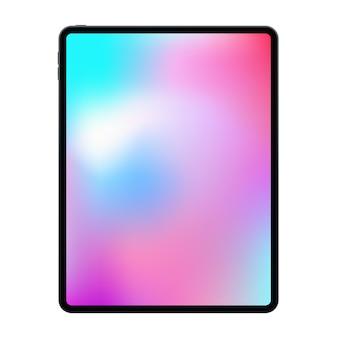 Nouvelle version de la tablette premium sans cadre réaliste dans un design tendance à cadre mince.