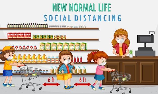 Nouvelle vie normale avec des enfants allant faire les courses