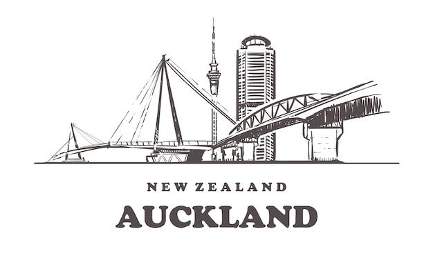 Nouvelle-zélande, architecture dessinée à la main d'auckland