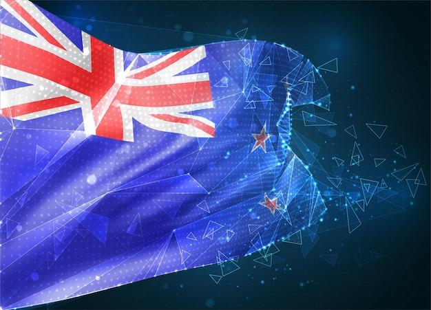 Nouvelle-zélande, drapeau vectoriel, objet 3d abstrait virtuel à partir de polygones triangulaires sur fond bleu