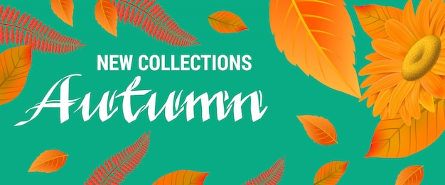 Nouvelles collections lettrage d'automne avec des feuilles orange.