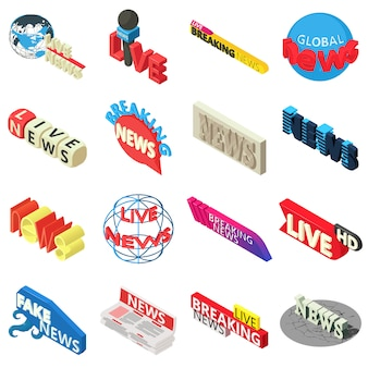 Nouvelles en direct briser le jeu d'icônes d'étiquette. illustration isométrique de 16 actualités en direct rupture icônes vectorielles étiquette pour le web