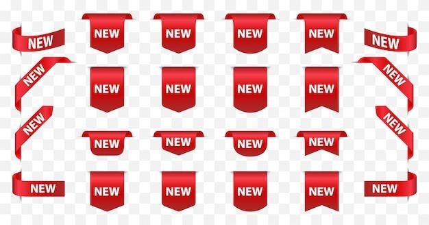 Nouvelles étiquettes et badges de vente de ruban.