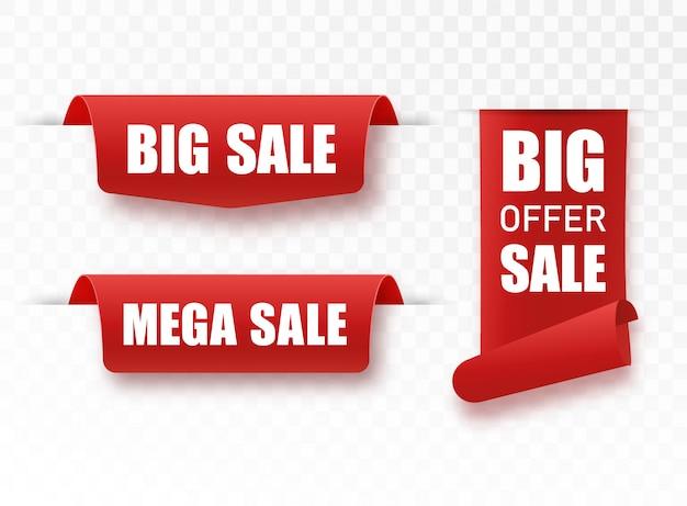 Nouvelles grandes étiquettes de vente méga. badges et étiquettes. rubans en papier