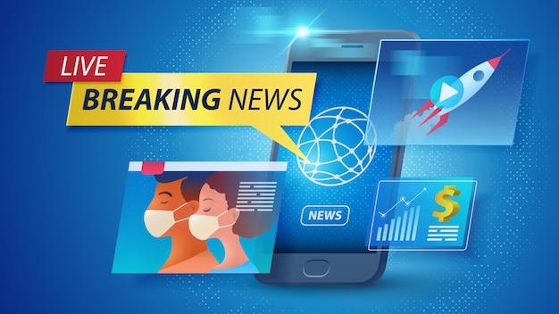Nouvelles en ligne sur le concept des appareils intelligents. regarder les dernières nouvelles et les mises à jour en direct à tout moment et en utilisant un smartphone. design plat de la convivialité du smartphone. illustration.