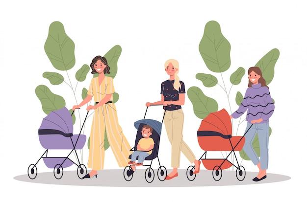 Nouvelles mamans marchant avec des enfants
