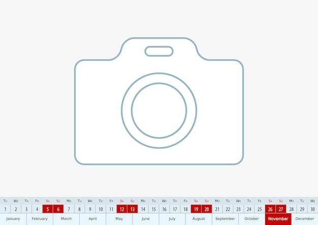 Novembre 2022 pour le calendrier de bureau. modèle vectoriel.