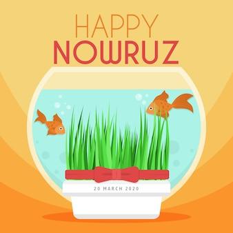 Nowruz heureux avec un bocal à poissons