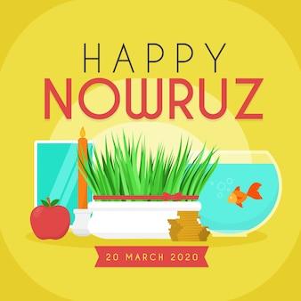 Nowruz heureux avec bol d'herbe et de poisson