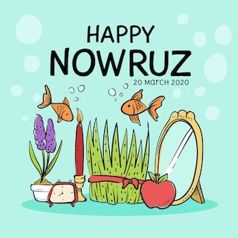 Nowruz heureux avec du poisson