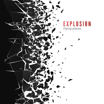 Nuage abstrait de morceaux et de fragments après une explosion de mur