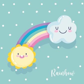 Nuage arc-en-ciel soleil fantaisie dessin animé décoration points fond illustration vectorielle