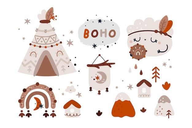 Nuage de boho, arc-en-ciel, ensemble de wigwam. éléments de design tribal pour les enfants