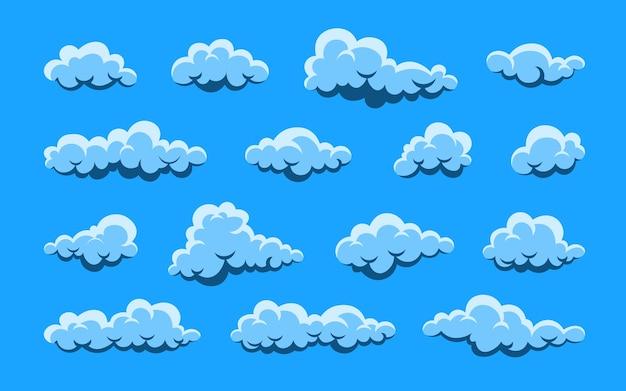 Nuage. ensemble nuageux blanc abstrait isolé sur fond bleu.