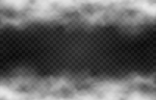 Nuage de fumée ou de brouillard sur fond transparent