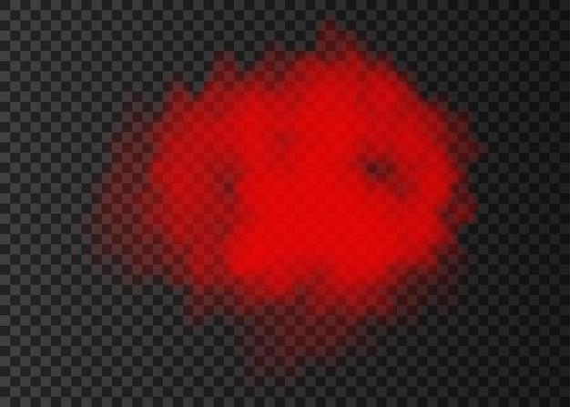 Nuage de fumée rouge isolé sur fond transparent. effet spécial d'explosion de vapeur. brouillard de feu vectoriel réaliste ou texture de brume.