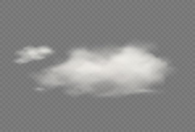 Nuage isolé transparent vecteur réaliste. illustration de ciel nuageux moelleux. tempête, effets de nuages de pluie. modèle de concept de climat d'atmosphère
