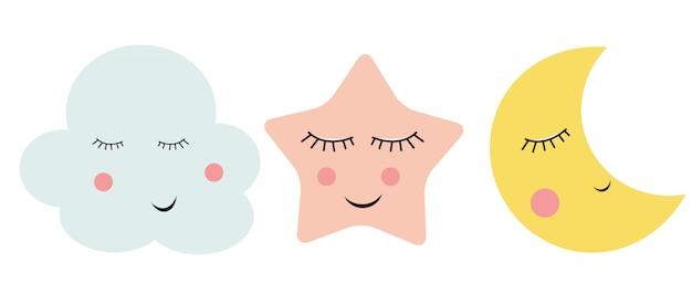 Nuage mignon, étoile et lune
