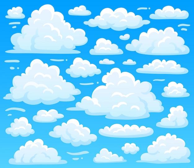Nuage moelleux de dessin animé à skyscape azur. nuages célestes sur ciel bleu, vintage cloudscape atmosphérique