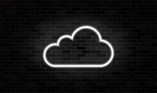 Nuage en néon sur le fond de mur de brique noire. nuage blanc brillant dans les signes sombres.