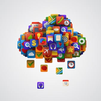 Nuage avec de nombreuses icônes d'application.