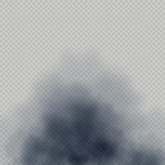 Nuage de poussière ou effet spécial de fumée de feu sur fond transparent.