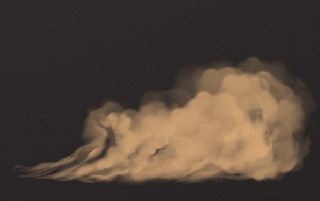 Nuage de poussière, fumée brune sale, smog épais et épais