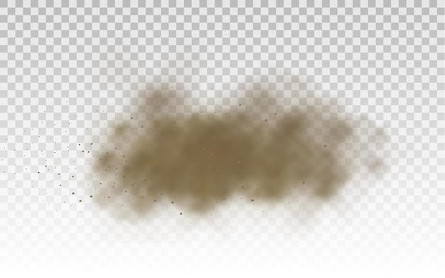 Nuage de route poussiéreux brun sable volant ou sable sec volant avec une rafale de vent tempête de sable