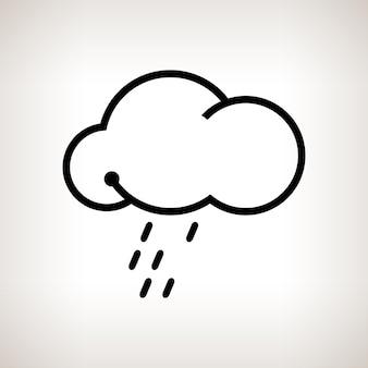 Nuage de silhouette avec la pluie sur fond clair, illustration vectorielle en noir et blanc