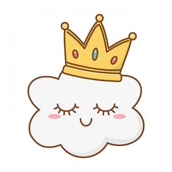 Nuage souriant avec couronne