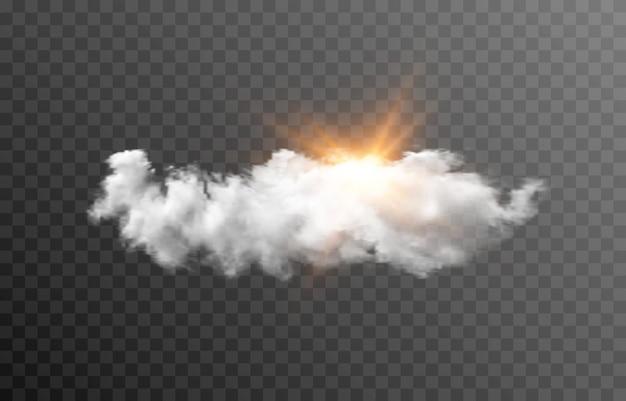 Nuage de vecteur avec le soleil aube lever du soleil rayons lumineux du soleil nuage fumée brouillard png