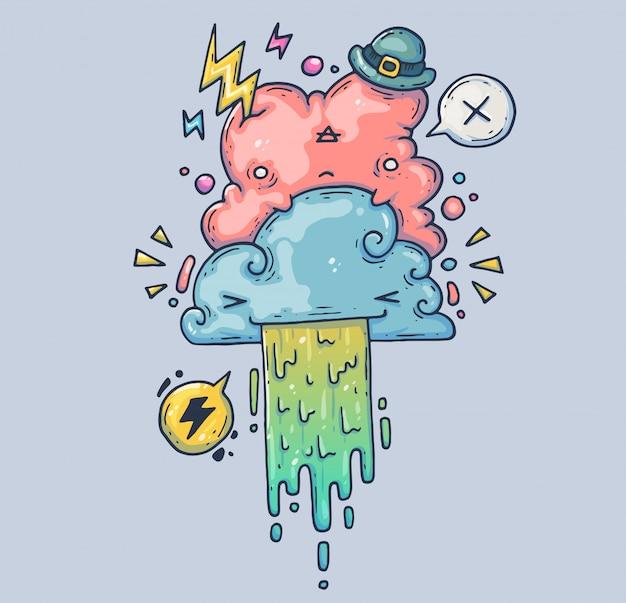 Nuages amusants. nuage rose dans un drôle de chapeau. illustration de dessin animé caractère dans le style graphique moderne.