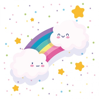 Nuages arc-en-ciel étoiles pointillé fond blanc dessin animé décoration illustration vectorielle