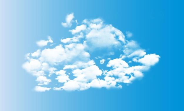 Nuages blancs 3d réalistes sur ciel bleu