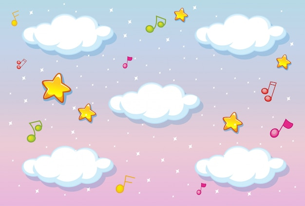 Nuages blancs sur fond de ciel pastel avec thème de la mélodie