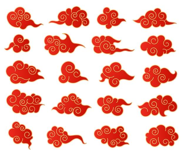 Nuages chinois. ensemble décoratif coréen ou japonais nuage rouge et or. graphiques isolés vectoriels asiatiques traditionnels dans un style oriental.