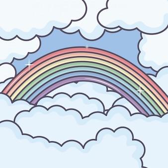 Nuages ciel avec temps arc en ciel