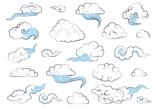 Nuages dans un style chinois traditionnel. grand ensemble d'éléments météorologiques nuages, brouillard, nuage, vent