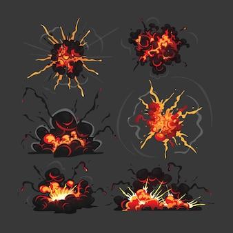 Nuages d'explosion de bombe. effet de flèche de dessin animé et éléments de fumée pour la conception de jeux d'interface utilisateur