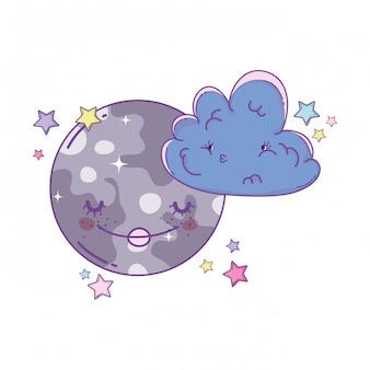 Nuages et lune dessins animés mignons