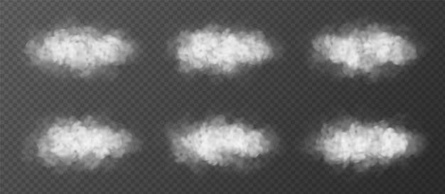 Nuages moelleux mis isolé. collection d'éléments de conception de vecteur réaliste. effet spécial de brouillard ou de fumée.