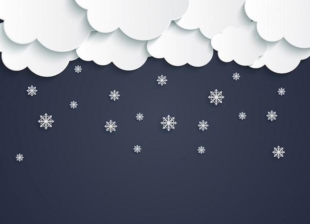 Nuages de papier abstrait avec illustration vectorielle de flocons de neige