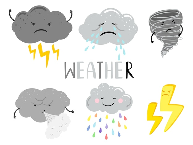 Nuages de personnage de dessin animé météo couvert