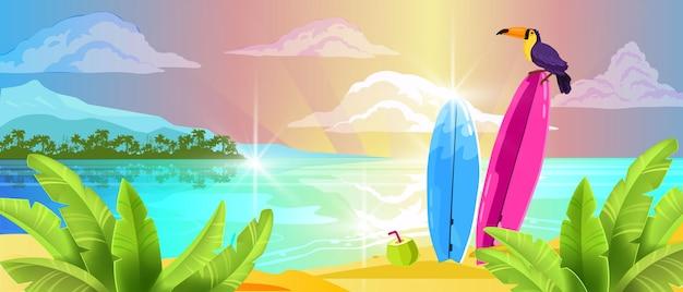 Nuages de planche de surf de toucan de sable d'océan tropical d'été