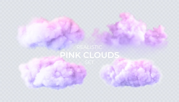 Nuages roses, bleus, violets isolés sur un fond transparent. ensemble réaliste 3d de nuages. véritable effet de transparence. illustration vectorielle