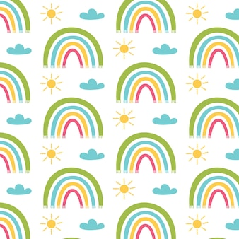 Nuages de soleil colorés motif arc-en-ciel